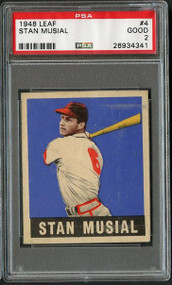 1948 Leaf #4 Stan Musial HOF Rookie RC-PSA 2-Centered