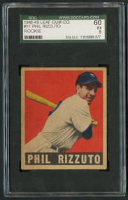 1948 Leaf #11 Phil Rizzuto HOF Rookie - SGC 60/5 - Centered