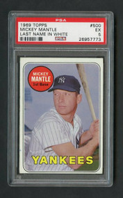 1969 Topps #500 Mickey Mantle Last Name in White - PSA 5 (Rare Variation)
