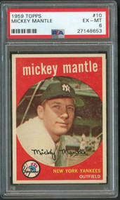 1959 Topps #10 Mickey Mantle PSA 6 - Centered