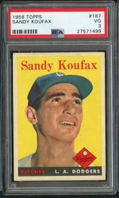 1958 Topps Sandy Koufax #187 HOF - PSA 3 - Centered