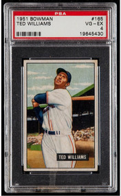 1951 Bowman Ted Williams #165 HOF - PSA 4 - Centered