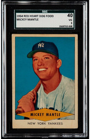 1954 Red Heart Dog Food Mickey Mantle - SGC 3/40 - Centered