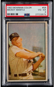 1953 Bowman Color #59 Mickey Mantle PSA 4 - Sharp Corners
