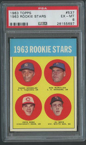 1963 Topps Pete Rose RC Rookie #537 PSA 6 - Centered