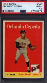 1958 Topps Orlando Cepeda RC Rookie HOF #343 - PSA 7.5