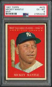 1961 Topps #475 MVP Mickey Mantle PSA 6