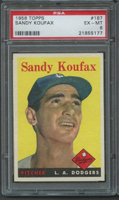1958 Topps Sandy Koufax #187 PSA 6 - Centered