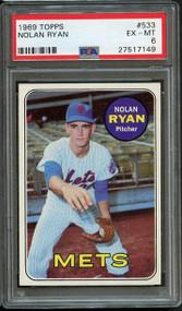 1969 Topps Nolan Ryan #533 HOF - PSA 6 - Centered