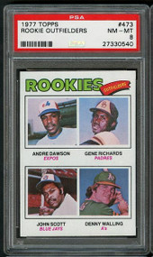 1977 Topps Outfielders Andrew Dawson RC Rookie #473 PSA 8