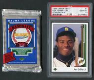 1989 Upper Deck #1 Ken Griffey, Jr. RC Rookie PSA 10 & '89 UD Wax Pack