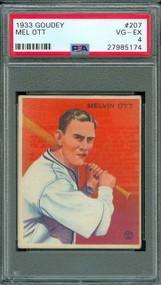1933 Goudey Mel Ott #207 HOF PSA 4