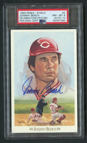 1989 Perez-Steele Johnny Bench Auto HOF PSA 8/Auto 10