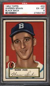 1952 Topps  Warren Spahn #33 HOF PSA 6 - Centered