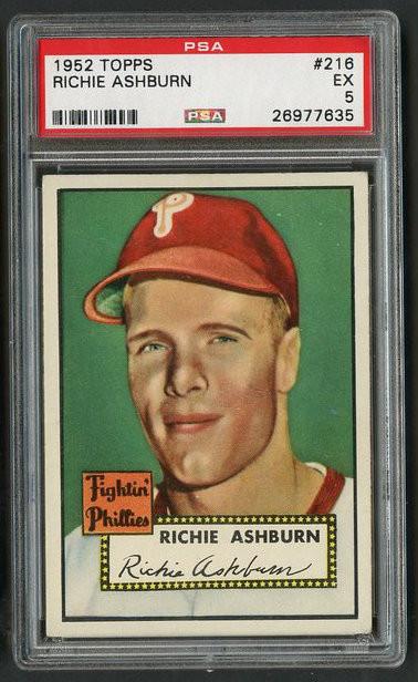 1952 Topps Richie Ashburn #216 HOF PSA 5 - Centered