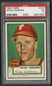 1952 Topps Richie Ashburn #216 HOF PSA 5 - Centered