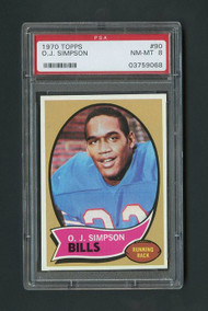 1970 Topps OJ Simpson RC Rookie #90 HOF PSA 8 - Centered