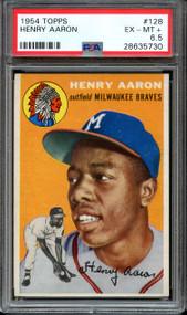 1954 Topps Hank Aaron RC Rookie #128 HOF PSA 6.5 - Centered