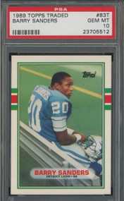 1989 Topps Traded Barry Sanders Lions RC Rookie HOF #83T PSA 10 GEM MINT