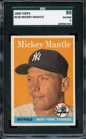 1958 TOPPS MICKEY MANTLE #150 HOF SGC 6/80