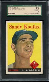 1958 TOPPS SANDY KOUFAX #187 HOF SGC 6/80