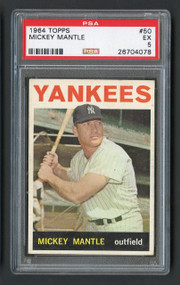 1964 Topps Mickey Mantle #50 HOF PSA 5- Centered