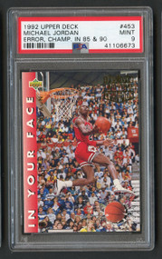 1992 Upper Deck Michael Jordan #453 Error Champ PSA 9 Mint