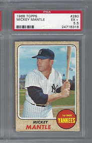 1968 TOPPS MICKEY MANTLE CARD #280 HOF PSA 5.5 CENTERED