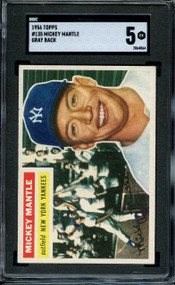 1956 TOPPS MICKEY MANTLE #135 HOF SGC EX 5 - Centered