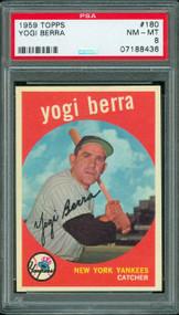 1959 TOPPS BASEBALL #180 YOGI BERRA PSA 8 HOF
