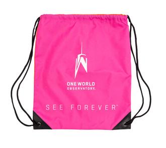 One World Observatory Drawstring Bag Pink