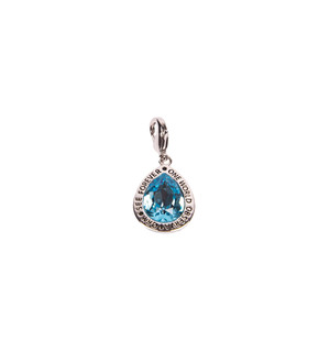 One World Observatory Silver Charm with Blue Crystal with crystals from Swarovski