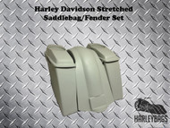 "4"" Stretched 6.5"" Speaker Saddlebags & Fender NO CUTOUTS Harley Softail Heritage"