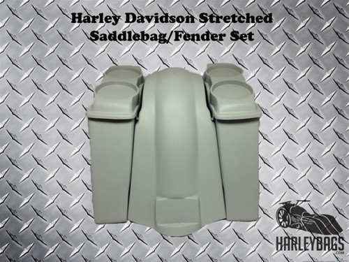"""4"""" Stretched Double Speaker Saddlebags & Fender NO CUTOUTS - LOUD Softail Harley"""