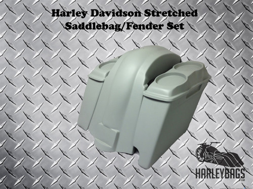 """Harley 2-in-1 Softail 6"""" Stretched Saddlebags Double 6.5"""" Speaker Lids & Fender"""
