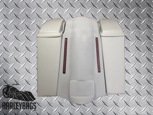 """Harley 6"""" Stretched Hard Saddlebags & LED Fender Cover - No Cut Outs, with Lids"""