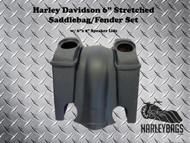"""Harley Davidson 6"""" Stretched Saddlebag Fender Kit - 6""""x 9"""" Speaker Lids"""