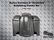 "Harley Davidson Motorcycle 6"" Extended Stretched Saddlebags, Lids & Rear Fender"