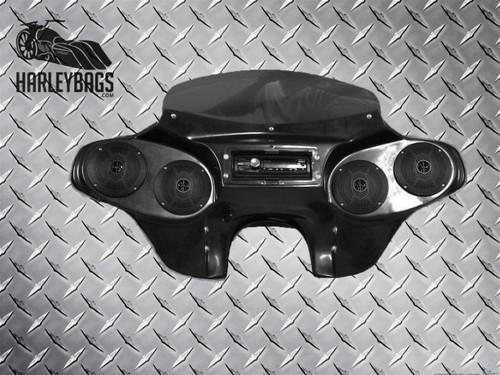 NEW Headlight Batwing Fairing (4) Speakers & Radio - Harley Touring Motorcycle