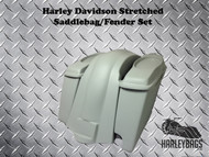 """Softail Harley 6"""" Stretched Saddlebags 6x9 Speaker Lids + Fender 2-in-1 Exhaust"""