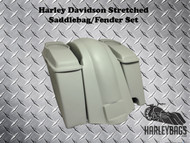 """Softail Harley 6"""" Stretched Saddlebags with Speaker Lids + Fender 2-in-1 Exhaust"""
