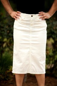 Colored Denim Skirt - White - IN STOCK