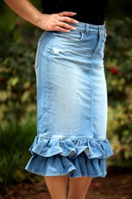 Juliana Ruffle Denim Skirt - Light Wash - IN STOCK.