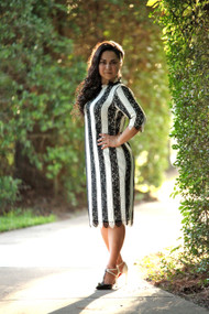 Olivia Striped Lace Dress  IN STOCK