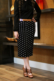Janelle Premium Denim Skirt - Polka Dot - IN STOCK