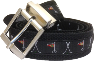 Web Belt Black Golf Motif