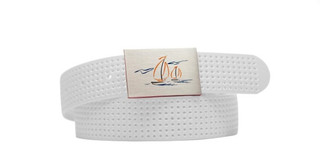 Perforated Belt Sailboat Logo Antique White