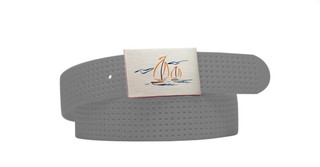 Perforated Belt Sailboat Logo Grey