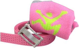 "Ladies Pink Set 1"" Pink Perforated Belt and Pink Sport Socks"