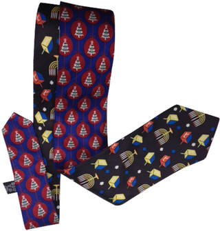 Reversible Christmas/Hanukah Holiday Silk Tie Black/Navy